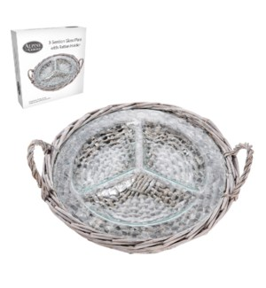 Three Section Glass Plate with Rattan Holder                 643700291141