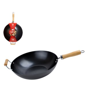 Wok Carbon Steel 12.5in with wood handle                     643700087836
