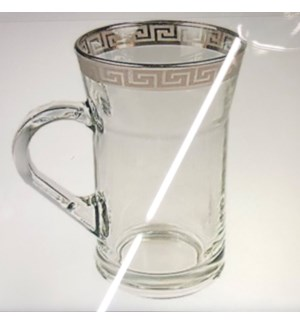 Glass Mug 6pc Set with Siliver Rim                           643700319463