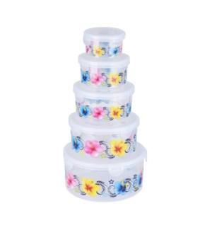 """Food container 5pc set, round""                              643700336552"