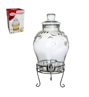 Glass Beverage Dispenser 10L with black metal stand          643700191168