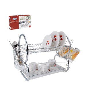 Dish Rack Chrome plated with PP tray 16in                    643700136596