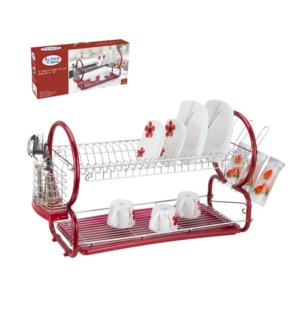 Dish Rack Chrome plated with PP tray 22in Red                643700211255