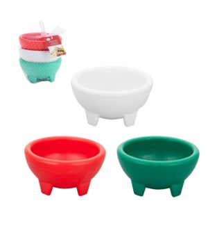 Salsa Bowl Plastic Small, 3pc set, red, white, green, 5x2.5i 643700141156