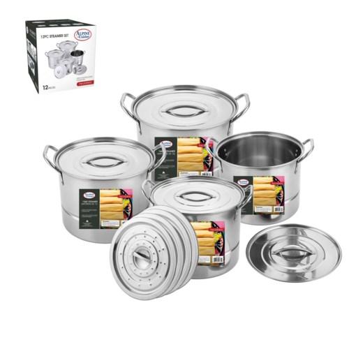 Steamer Pot SS 12pc set 6.5, 9, 12, 16Qt with Steamer        643700148308