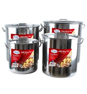 """Stock Pot SS 8pc Set 18Qt, 30Qt, 46.5Qt, 69Qt""              643700149480"