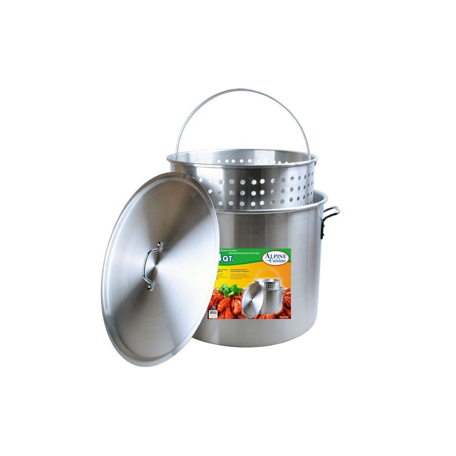 Crawfish Pot Aluminum 84 Qt 3pc Set with basket              643700159601
