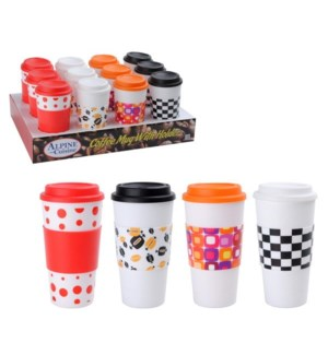PDQ Coffee Cup with Holder 16oz PLastic, 1PDQ 12pc, 4 design 643700170538
