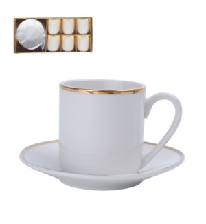 Coffee Cup and Saucer 6 by 6 100ml with gold rim             643700173850