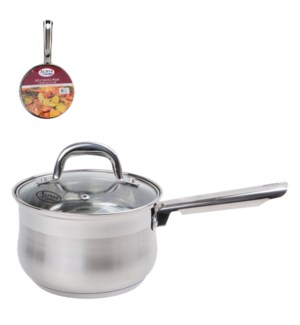 Sauce Pan SS 3Qt Belly Shape with Glass Lid                  643700269836