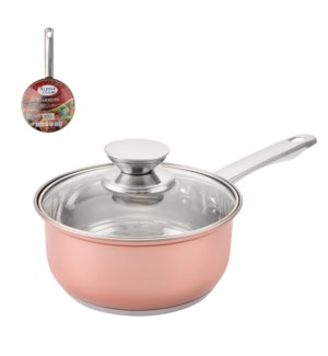 Sauce Pan SS 2Qt Belly Shape Rose Gold, with Glass Lid       643700269775