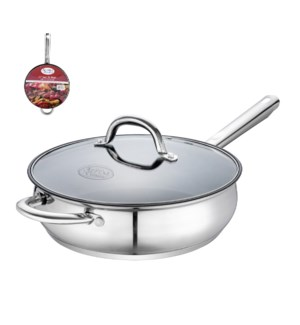 Saute Pan SS 10in Nonstick Coating, Belly Shape with Helping 643700269850