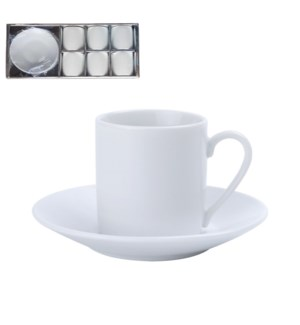 Coffee cup and saucer 6 by 6 set 90cc Porcelain with Silver  643700177599