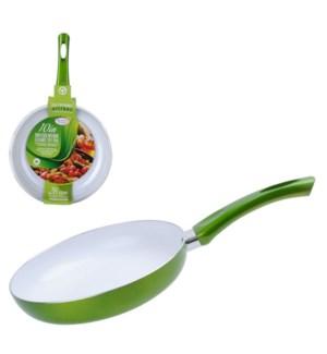 Fry pan Aluminum 9.5in Ceramic Coating, Green Metallic       643700178008