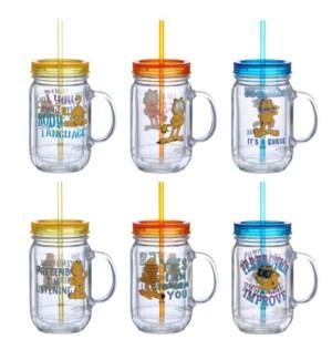 Mug 22oz with Straw and handle, Garfield design, needs 6 for 643700199508