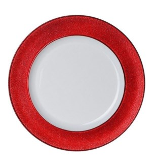 Charger plate white with red ring 13in                       643700199676