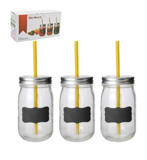 Glass Canister 3pc set 16oz with straw                       643700200433