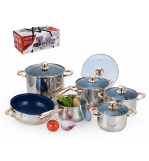 12 pcs stainles steel cookware set with blue glass lid       643700210296