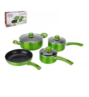 Cookware 7pc Set Aluminum Nonstick coating, Green Metallic   643700206329