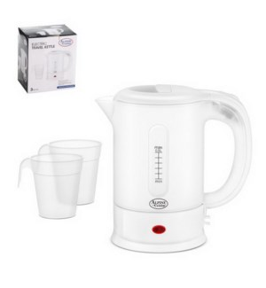 Travel Kettle with 2 cups, 500ml, Transparent Plastic, AC110 643700207784
