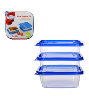 Container 3pc set 20Oz Square with Blue lid Plastic          643700213655