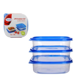 Container 3pc set 25Oz Square with Blue lid Plastic          643700213679