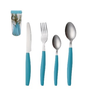 Flatware set 16pc service for 4, Blue handle                 643700215659