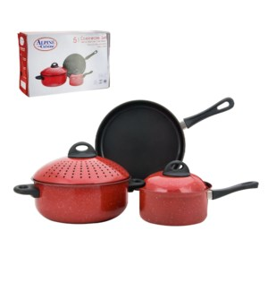 Pasta Cookware 5pc set Carbon steel.Nonstick with white marb 643700244574