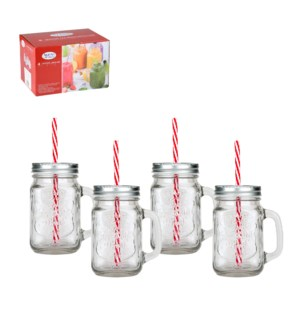 Glass mason Jar 4pc set 15Oz, with Straw                     643700221339