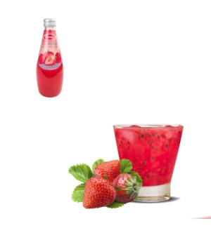 Basil Seed Drink Strawberry Flavors Glass 290mL Bettino      643700226815