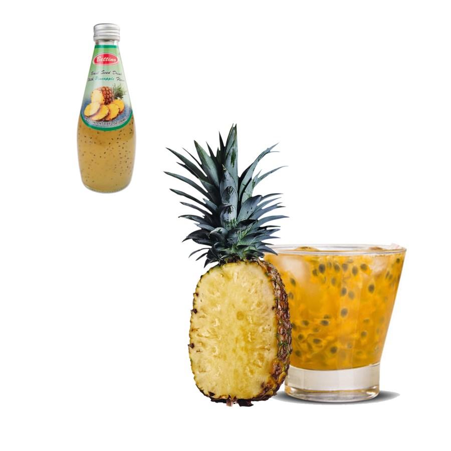 Basil Seed Drink Pineapple Flavors Glass 290mL Bettino       643700226822