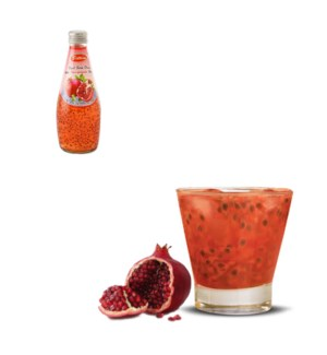Basil Seed Drink Pomegranate Flavors Glass 290mL Bettino     643700226846