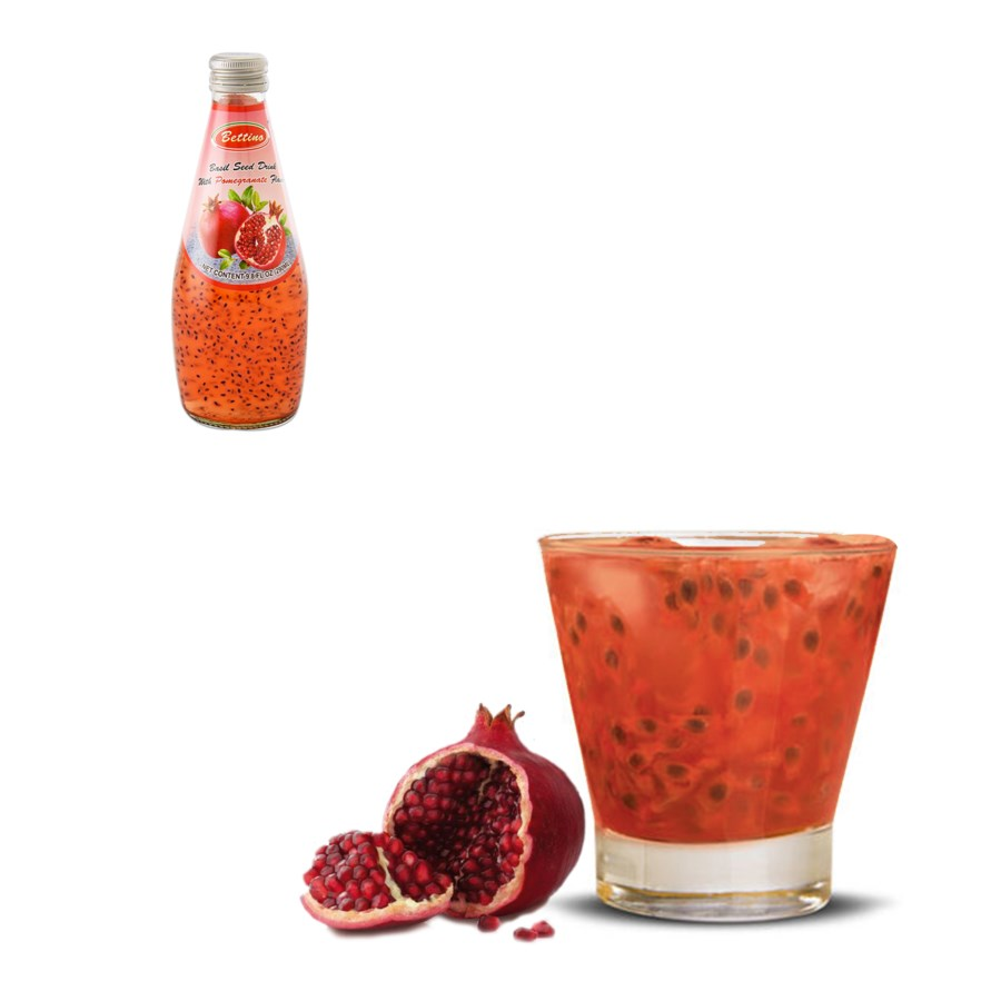Bettino Pomegranate Basil Seed Drink 9.8floz 290ml           643700226846