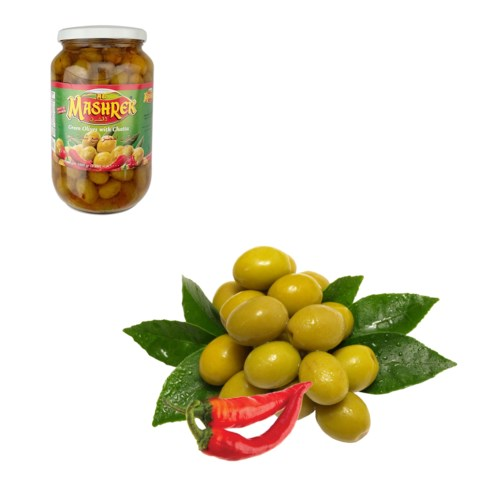 Green Olives with Chatta 1000g Al Mashrek                    643700227546