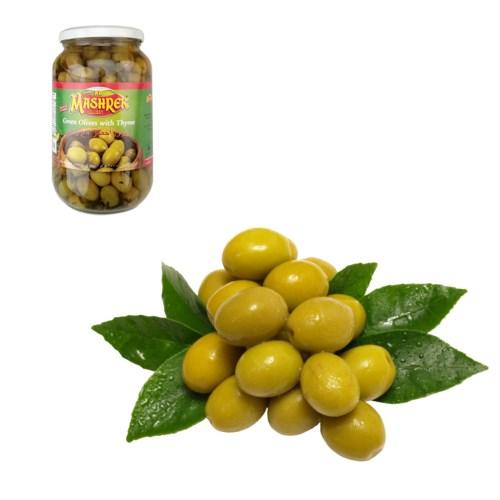 Green Olives with Thyme 1000g Al Mashrek                     643700227553