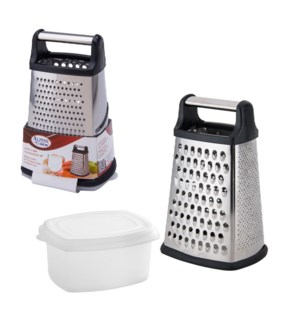 Jumbo Grater Four Sided SS 10in with Storage box             643700234155