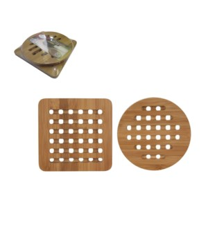 Bamboo Pot mat 2pc set Round and Square, 15cm                643700237002