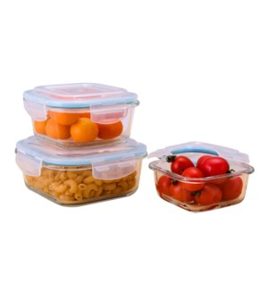 Glass Container 3pc set 11oz, 18oz, 27.5oz, Square, with pla 643700239341