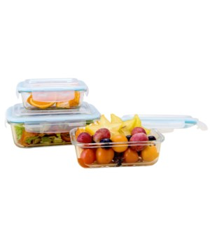 Glass Container 3pc set 12.5oz, 22oz, 34oz, Rectangular, wit 643700239358