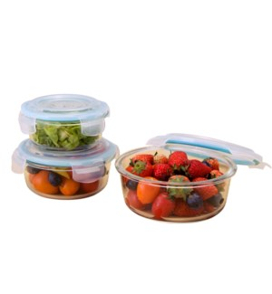 Glass Container 3pc set 13.5oz, 22oz, 32.5oz, Round, with pl 643700239365