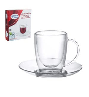 Double Wall Cup and Saucer 6 by 6 Glass, 3.5oz               643700240712