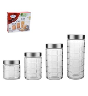 Glass Canister 4pc set 2100ml, 1600ml,1200ml,760ml           643700260055