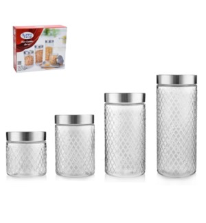 Glass Canister 4pc set 2100,1600,1200,760 ML                 643700260062