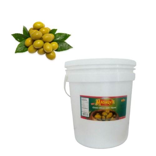 Al Mashrek Green Olives with Thyme 22.2lb 10kg               643700263254