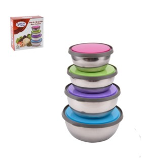 Mixing Bowl 4pc set SS with color Plastic Lid                643700263834