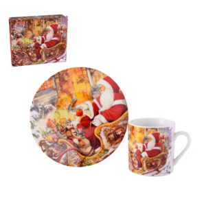 Coffee Cup and Saucer 6 by 6, 3.5Oz Porcelain Christmas Desi 643700263926