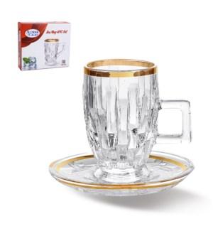 Tea Glass 6 by 6 Set 3.5oz Gold design                       643700264381