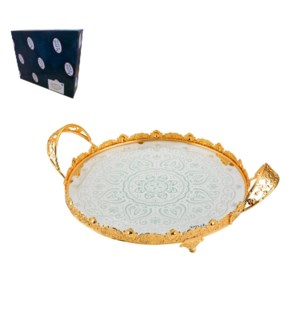 Round Tray Glass 17.5in with Handle and Stand, Gold plated   643700265272