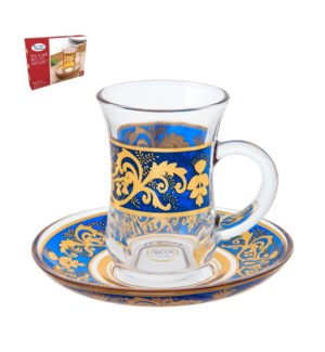 Tea Glass 6 by 6 Set 5Oz Gold Design                         643700265968