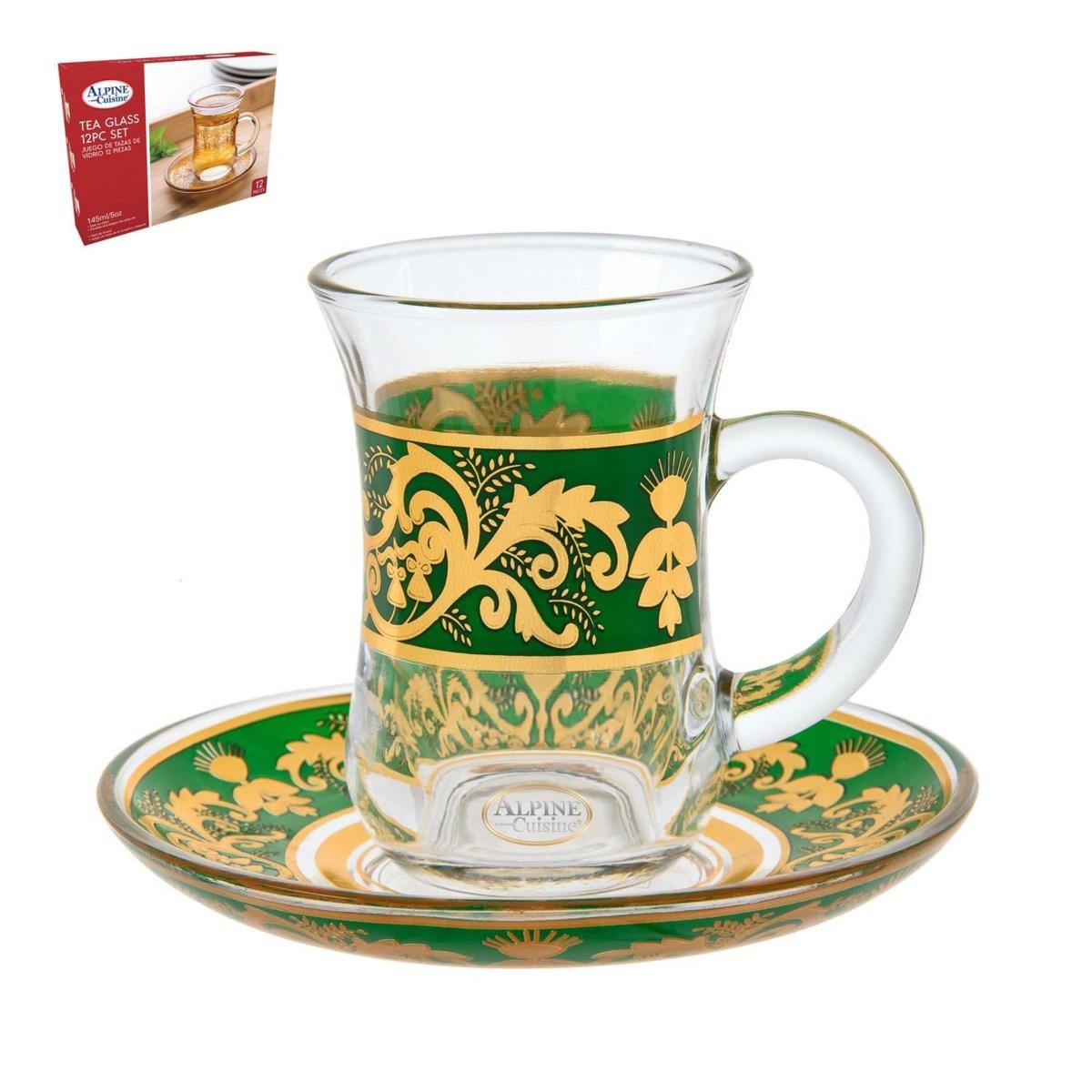 Tea Glass 6 by 6 Set 5Oz Gold Design                         643700265975